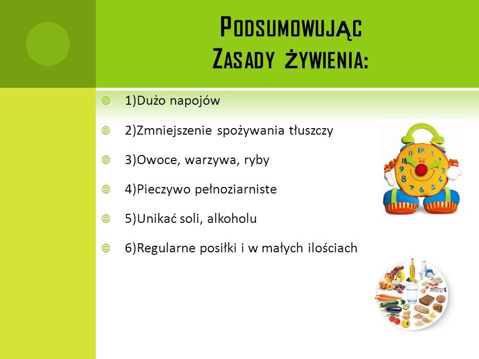 P ODSUMOWUJ Ą C Z ASADY Ż YWIENIA : 1)Dużo napojów 2)Zmniejszenie spożywania tłuszczy 3)Owoce, warzywa, ryby 4)Pieczywo pełnoziarniste 5)Unikać soli,