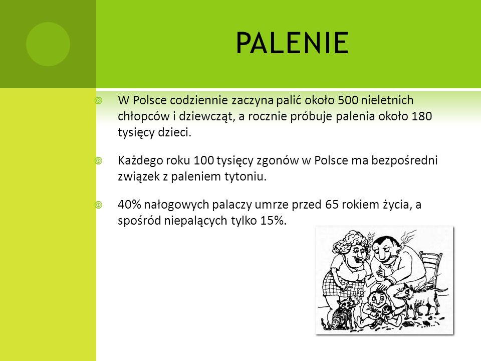PALENIE W Polsce codziennie zaczyna palić około 500 nieletnich chłopców i dziewcząt, a rocznie próbuje palenia około 180 tysięcy dzieci. Każdego roku