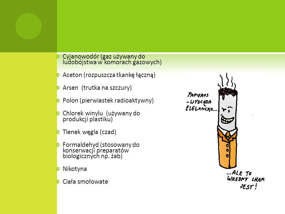 Cyjanowodór (gaz używany do ludobójstwa w komorach gazowych) Aceton (rozpuszcza tkankę łączną) Arsen (trutka na szczury) Polon (pierwiastek radioaktyw