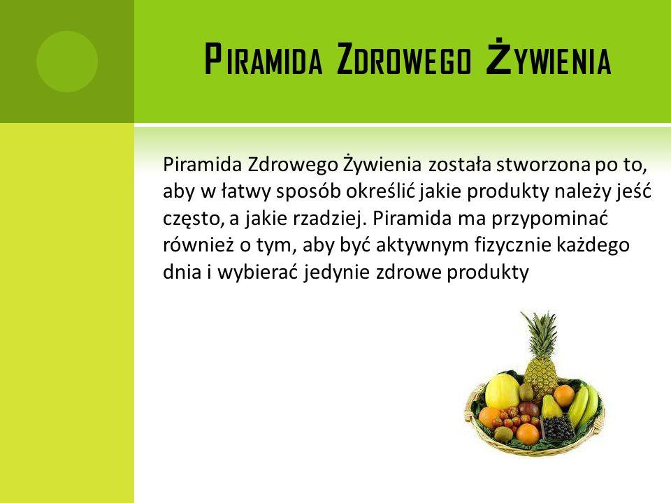 P IRAMIDA Z DROWEGO Ż YWIENIA Piramida Zdrowego Żywienia została stworzona po to, aby w łatwy sposób określić jakie produkty należy jeść często, a jak