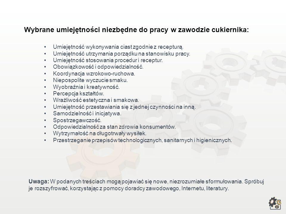 Wybrane umiejętności niezbędne do pracy w zawodzie cukiernika: Uwaga: W podanych treściach mogą pojawiać się nowe, niezrozumiałe sformułowania.