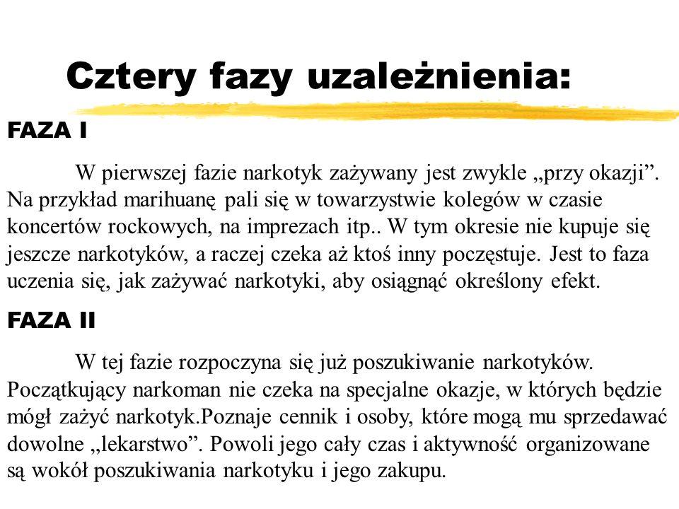 Cztery fazy uzależnienia: FAZA I W pierwszej fazie narkotyk zażywany jest zwykle przy okazji. Na przykład marihuanę pali się w towarzystwie kolegów w