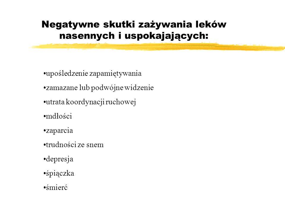 Negatywne skutki zażywania leków nasennych i uspokajających: upośledzenie zapamiętywania zamazane lub podwójne widzenie utrata koordynacji ruchowej md