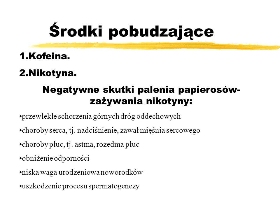 Środki pobudzające 1.Kofeina. 2.Nikotyna. Negatywne skutki palenia papierosów- zażywania nikotyny: przewlekłe schorzenia górnych dróg oddechowych chor