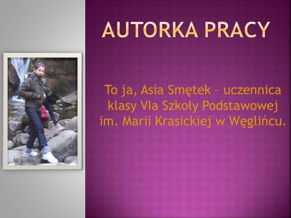 To ja, Asia Smętek – uczennica klasy VIa Szkoły Podstawowej im. Marii Krasickiej w Węglińcu.