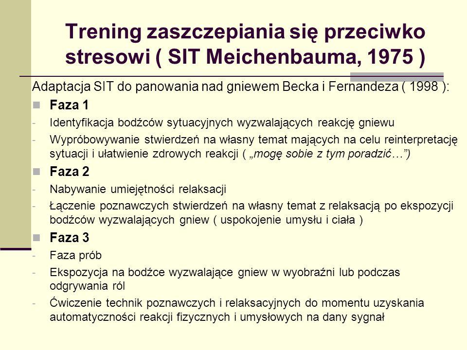 Trening zaszczepiania się przeciwko stresowi ( SIT Meichenbauma, 1975 ) Adaptacja SIT do panowania nad gniewem Becka i Fernandeza ( 1998 ): Faza 1 - Identyfikacja bodźców sytuacyjnych wyzwalających reakcję gniewu - Wypróbowywanie stwierdzeń na własny temat mających na celu reinterpretację sytuacji i ułatwienie zdrowych reakcji ( mogę sobie z tym poradzić…) Faza 2 - Nabywanie umiejętności relaksacji - Łączenie poznawczych stwierdzeń na własny temat z relaksacją po ekspozycji bodźców wyzwalających gniew ( uspokojenie umysłu i ciała ) Faza 3 - Faza prób - Ekspozycja na bodźce wyzwalające gniew w wyobraźni lub podczas odgrywania ról - Ćwiczenie technik poznawczych i relaksacyjnych do momentu uzyskania automatyczności reakcji fizycznych i umysłowych na dany sygnał