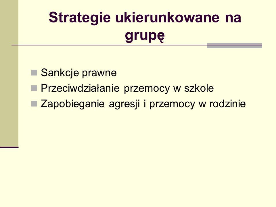 Strategie ukierunkowane na grupę Sankcje prawne Przeciwdziałanie przemocy w szkole Zapobieganie agresji i przemocy w rodzinie