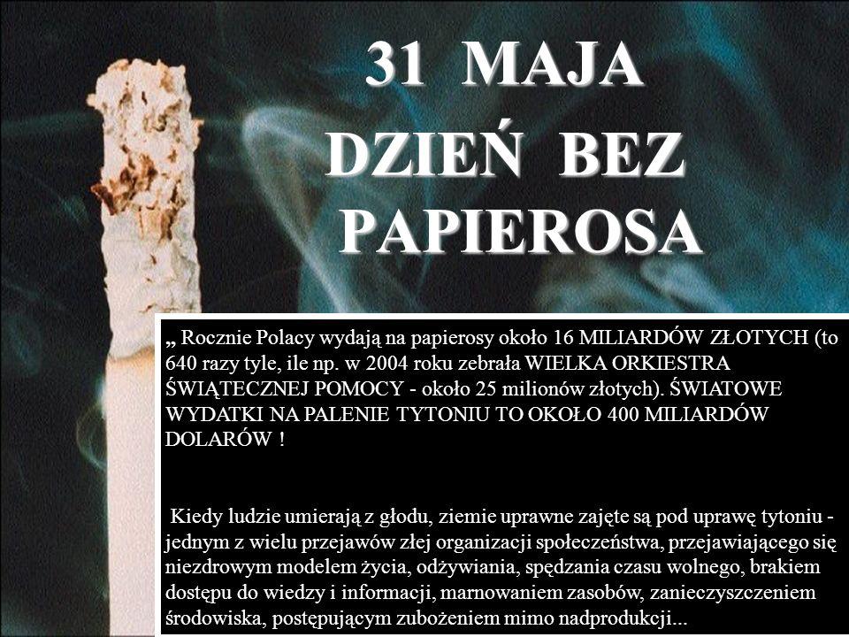 Rocznie Polacy wydają na papierosy około 16 MILIARDÓW ZŁOTYCH (to 640 razy tyle, ile np. w 2004 roku zebrała WIELKA ORKIESTRA ŚWIĄTECZNEJ POMOCY - oko