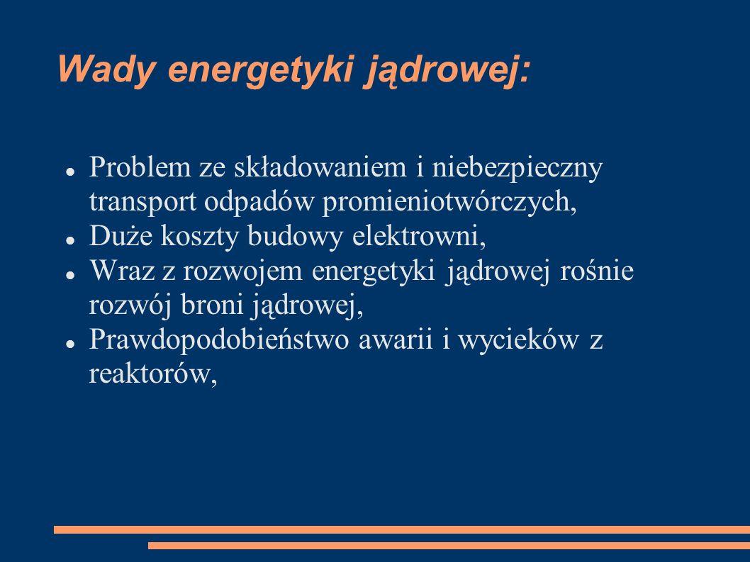 Wady energetyki jądrowej: Problem ze składowaniem i niebezpieczny transport odpadów promieniotwórczych, Duże koszty budowy elektrowni, Wraz z rozwojem