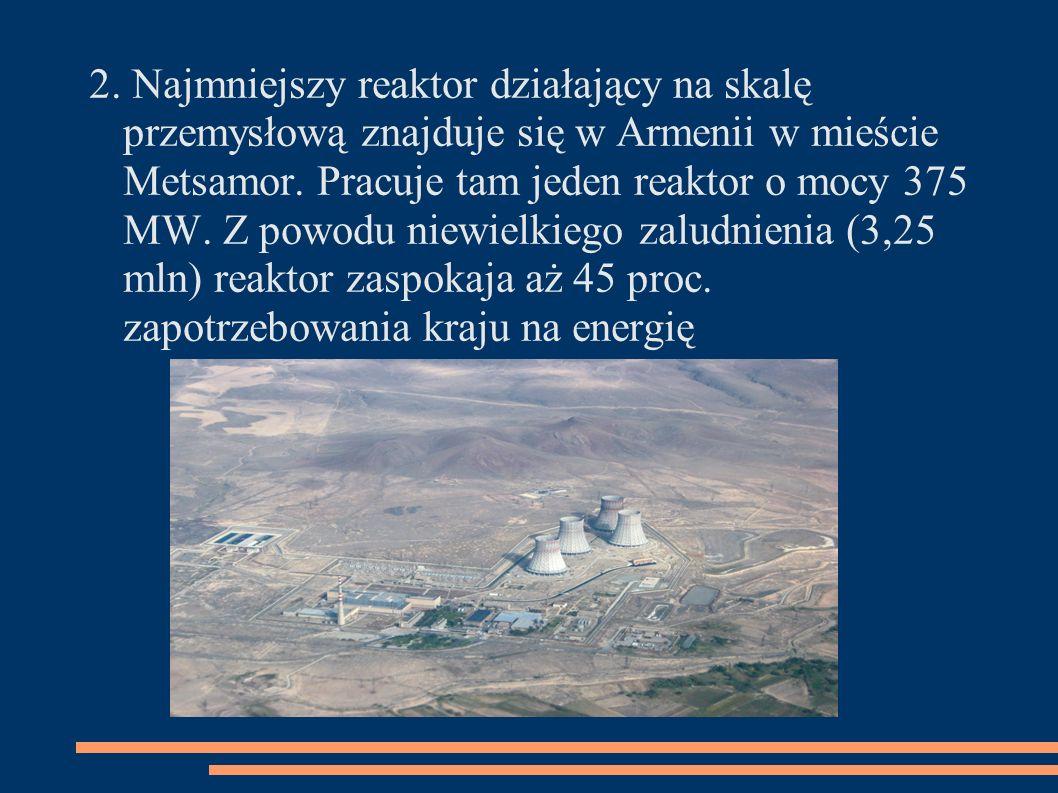 2. Najmniejszy reaktor działający na skalę przemysłową znajduje się w Armenii w mieście Metsamor. Pracuje tam jeden reaktor o mocy 375 MW. Z powodu ni