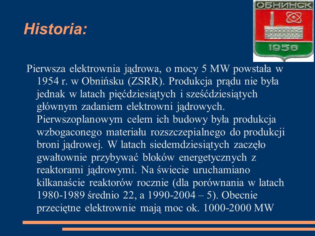 Historia: Pierwsza elektrownia jądrowa, o mocy 5 MW powstała w 1954 r. w Obnińsku (ZSRR). Produkcja prądu nie była jednak w latach pięćdziesiątych i s