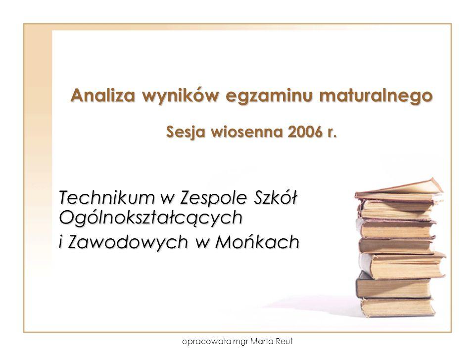 opracowała mgr Marta Reut Analiza wyników egzaminu maturalnego Sesja wiosenna 2006 r.