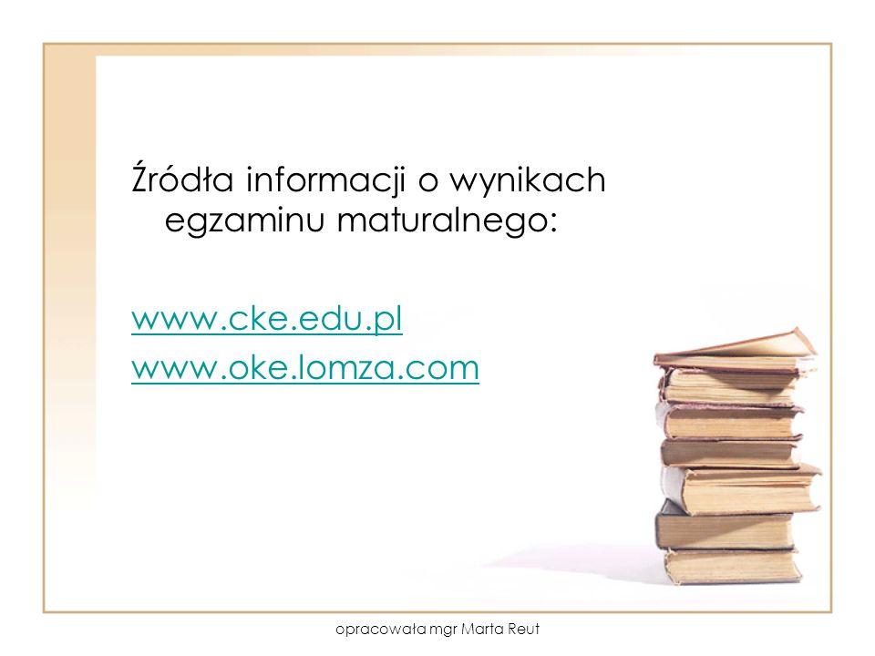 opracowała mgr Marta Reut Źródła informacji o wynikach egzaminu maturalnego: www.cke.edu.pl www.oke.lomza.com