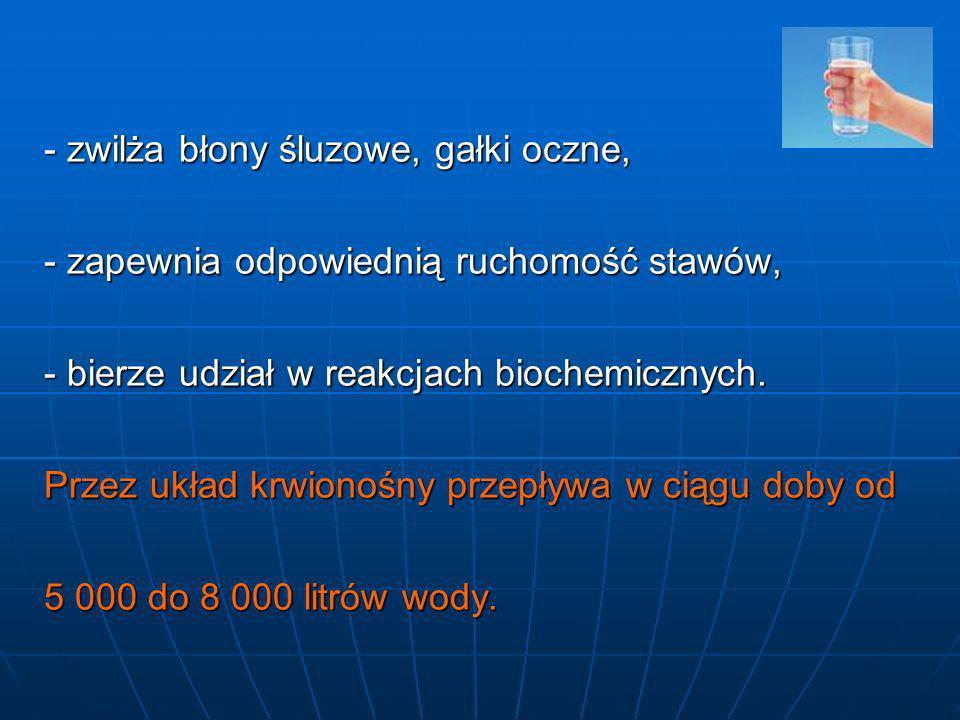 - zwilża błony śluzowe, gałki oczne, - zapewnia odpowiednią ruchomość stawów, - bierze udział w reakcjach biochemicznych. Przez układ krwionośny przep