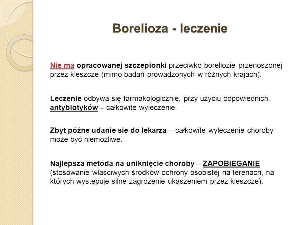 Borelioza - leczenie Nie ma opracowanej szczepionki przeciwko boreliozie przenoszonej przez kleszcze (mimo badań prowadzonych w różnych krajach). Lecz
