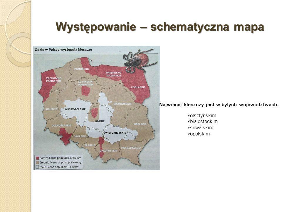 Występowanie – schematyczna mapa Najwięcej kleszczy jest w byłych województwach: olsztyńskim białostockim suwalskim opolskim
