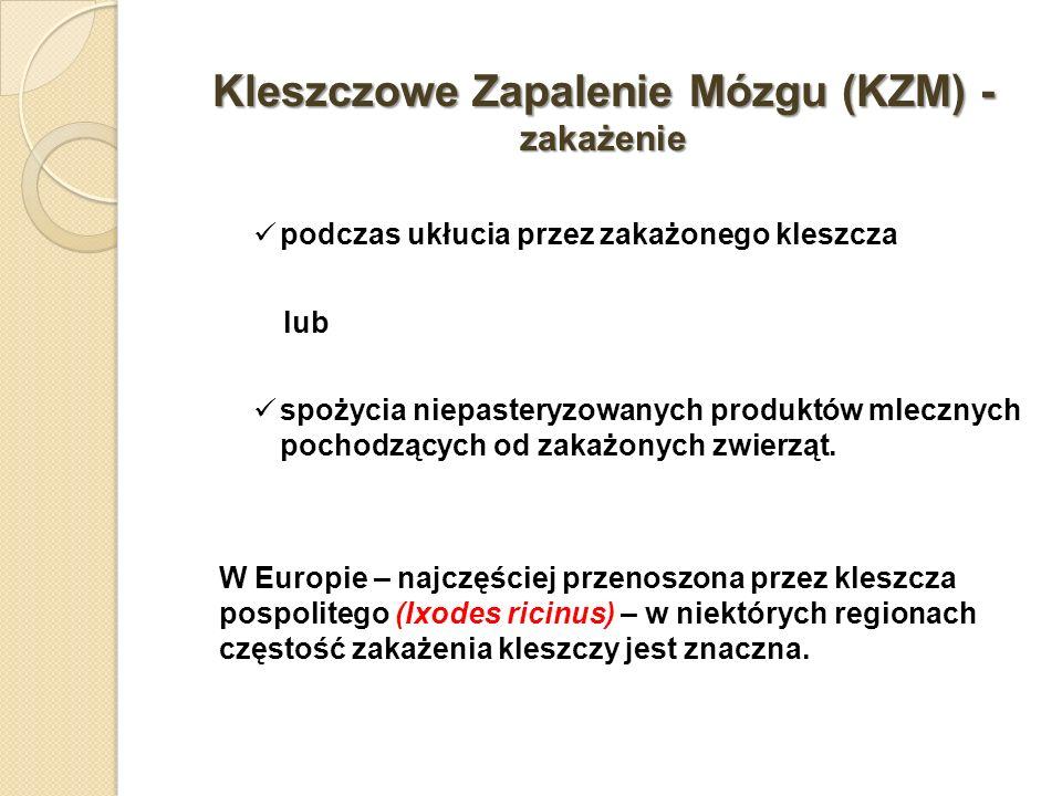 Kleszczowe Zapalenie Mózgu (KZM) - zakażenie podczas ukłucia przez zakażonego kleszcza lub spożycia niepasteryzowanych produktów mlecznych pochodzącyc