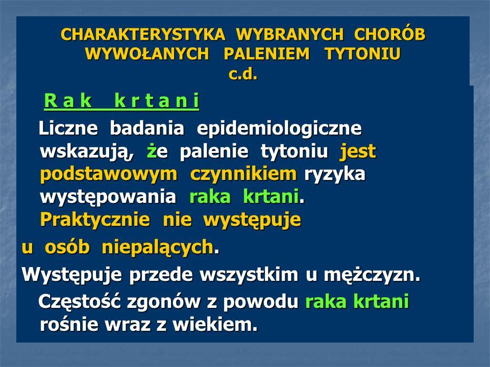 CHARAKTERYSTYKA WYBRANYCH CHORÓB WYWOŁANYCH PALENIEM TYTONIU c.d. R a k k r t a n i R a k k r t a n i Liczne badania epidemiologiczne wskazują, że pal