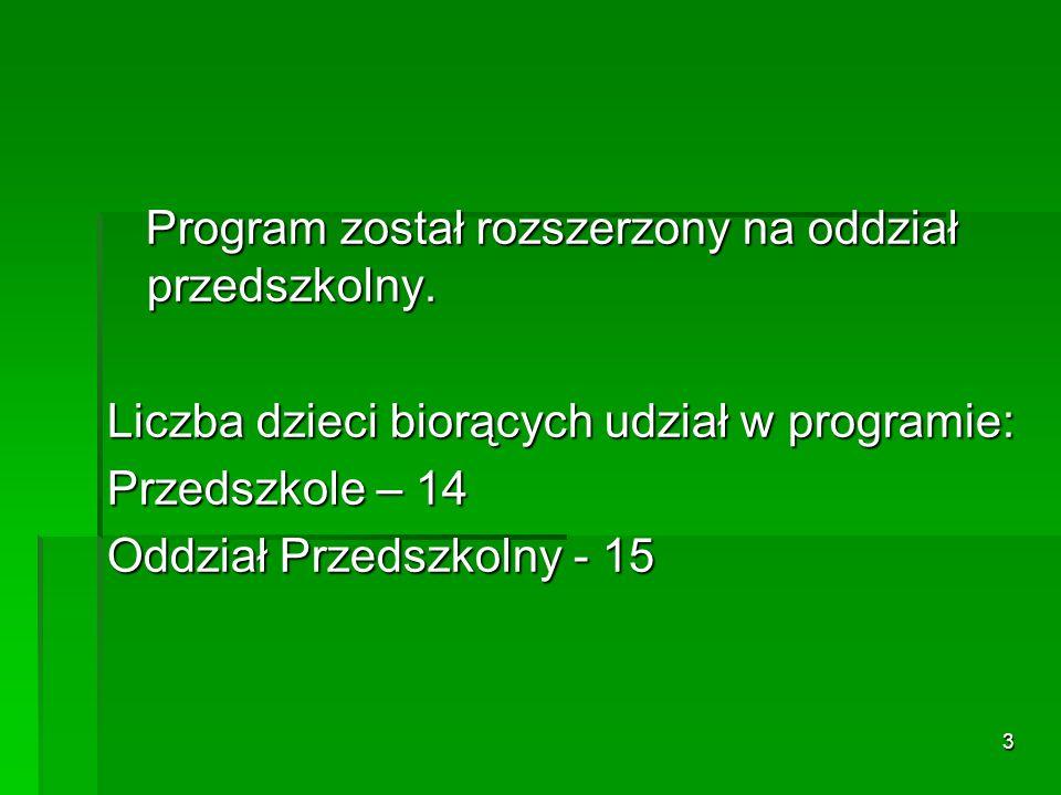 3 Program został rozszerzony na oddział przedszkolny.