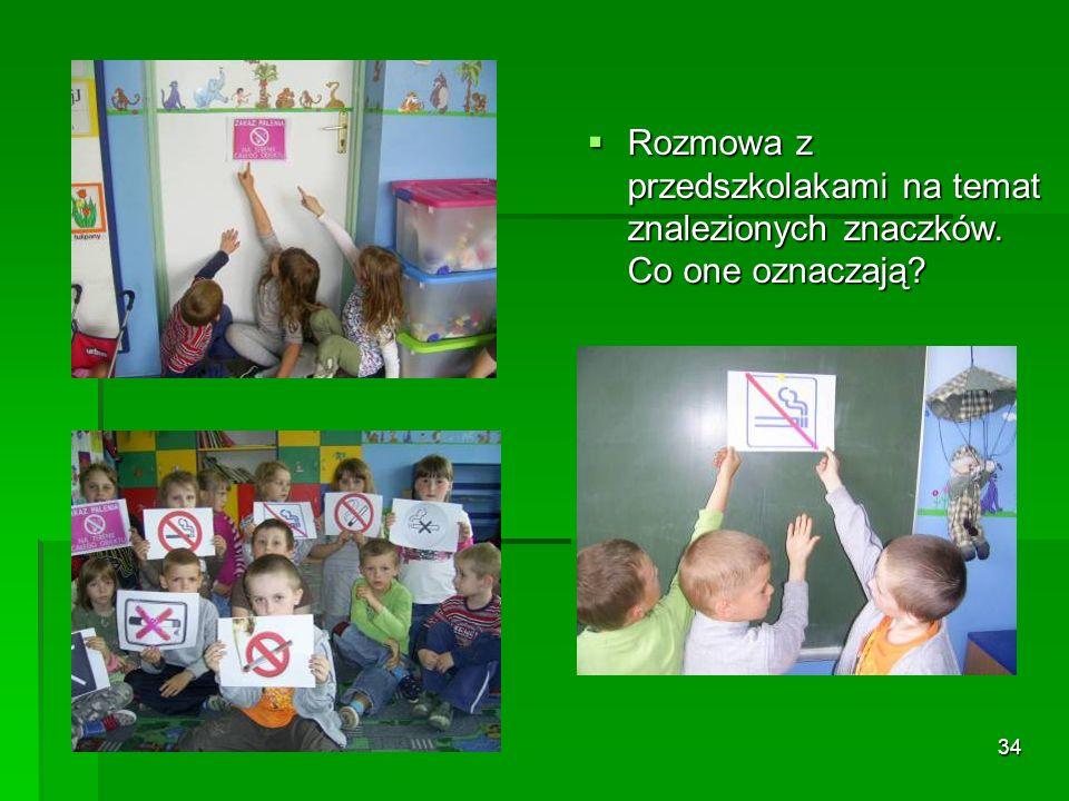 34 Rozmowa z przedszkolakami na temat znalezionych znaczków.