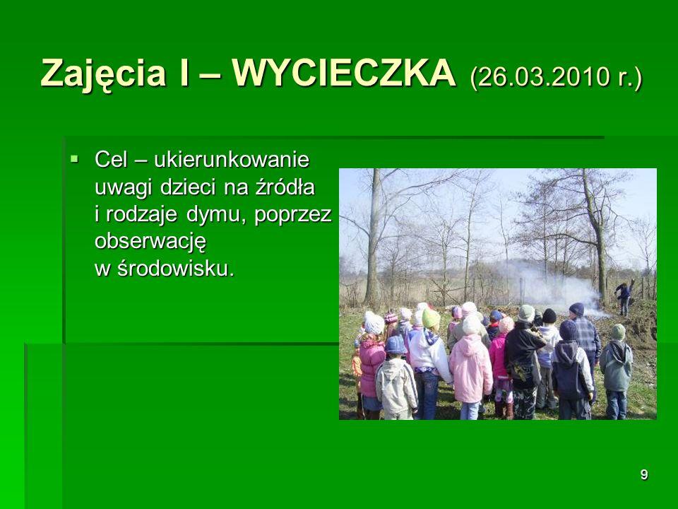 9 Zajęcia I – WYCIECZKA (26.03.2010 r.) Cel – ukierunkowanie uwagi dzieci na źródła i rodzaje dymu, poprzez obserwację w środowisku.