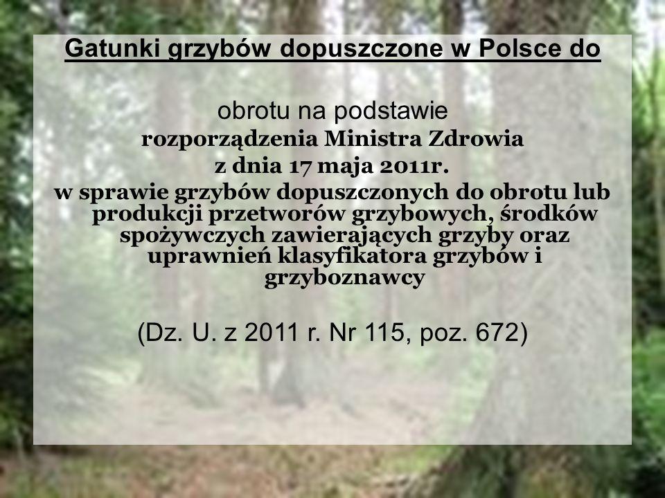 Gatunki grzybów dopuszczone w Polsce do obrotu na podstawie rozporządzenia Ministra Zdrowia z dnia 17 maja 2011r. w sprawie grzybów dopuszczonych do o