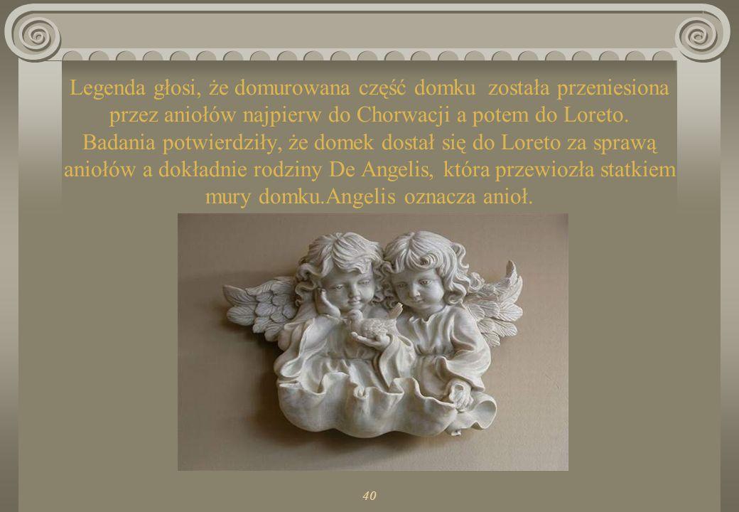 40 Ziemskie mieszkanie Maryi składało się z dwóch pomieszczeń: groty wykutej w skale (czczonej do dzisiaj w bazylice Zwiastowania w Nazarecie) i częśc
