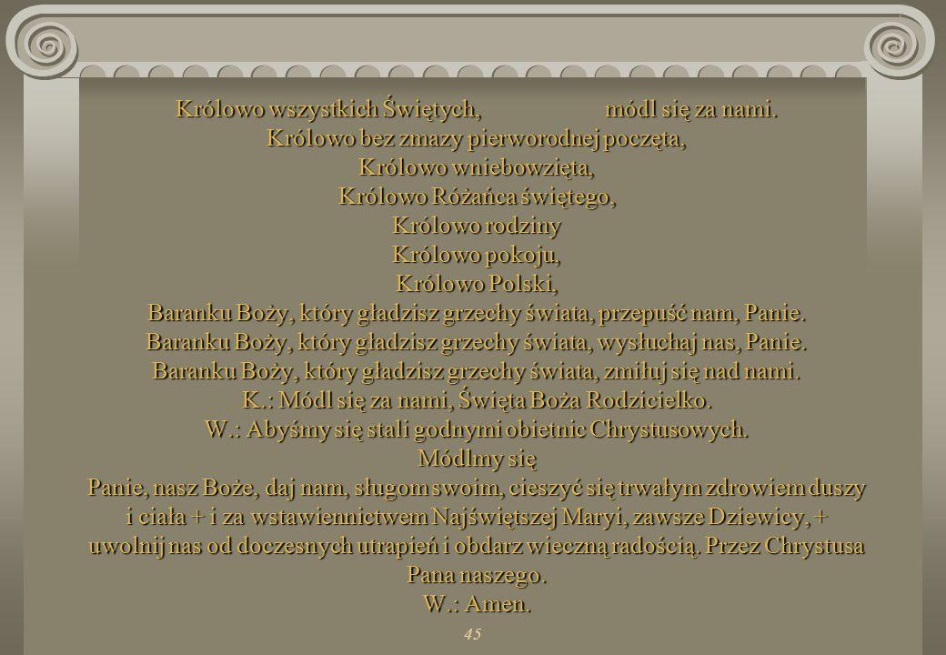 44 Różo Duchowna, módl się za nami. Wieżo Dawidowa, Wieżo z kości słoniowej, Domie złoty, Arko przymierza, Bramo niebieska, Gwiazdo zaranna, Uzdrowien