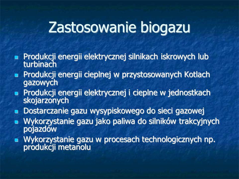 Zastosowanie biogazu Produkcji energii elektrycznej silnikach iskrowych lub turbinach Produkcji energii elektrycznej silnikach iskrowych lub turbinach Produkcji energii cieplnej w przystosowanych Kotlach gazowych Produkcji energii cieplnej w przystosowanych Kotlach gazowych Produkcji energii elektrycznej i cieplne w jednostkach skojarzonych Produkcji energii elektrycznej i cieplne w jednostkach skojarzonych Dostarczanie gazu wysypiskowego do sieci gazowej Dostarczanie gazu wysypiskowego do sieci gazowej Wykorzystanie gazu jako paliwa do silników trakcyjnych pojazdów Wykorzystanie gazu jako paliwa do silników trakcyjnych pojazdów Wykorzystanie gazu w procesach technologicznych np.
