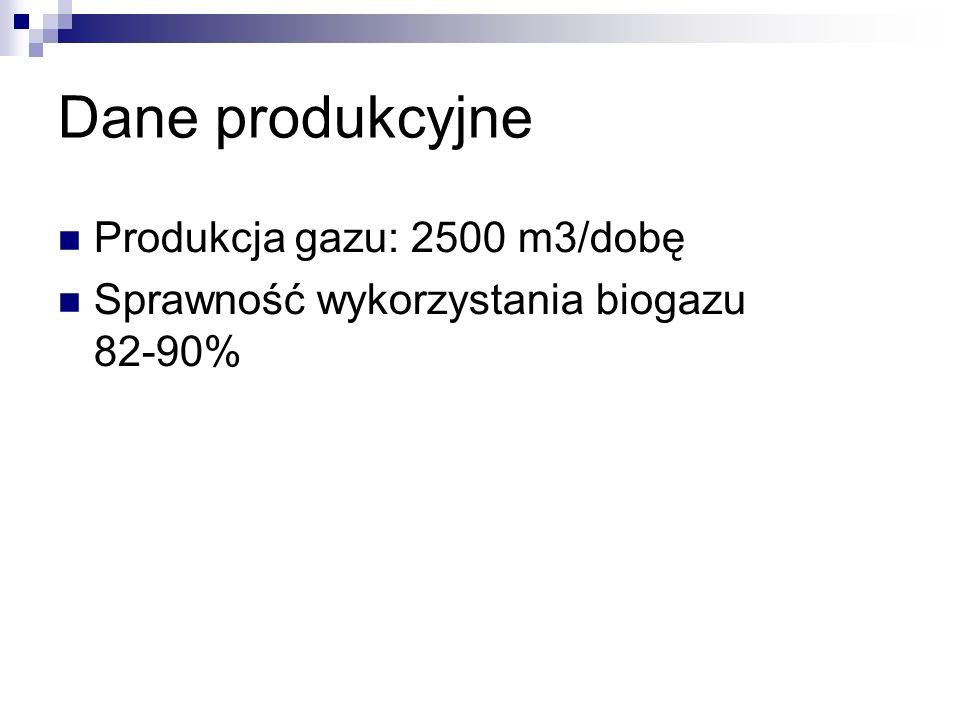 Dane produkcyjne Produkcja gazu: 2500 m3/dobę Sprawność wykorzystania biogazu 82-90%