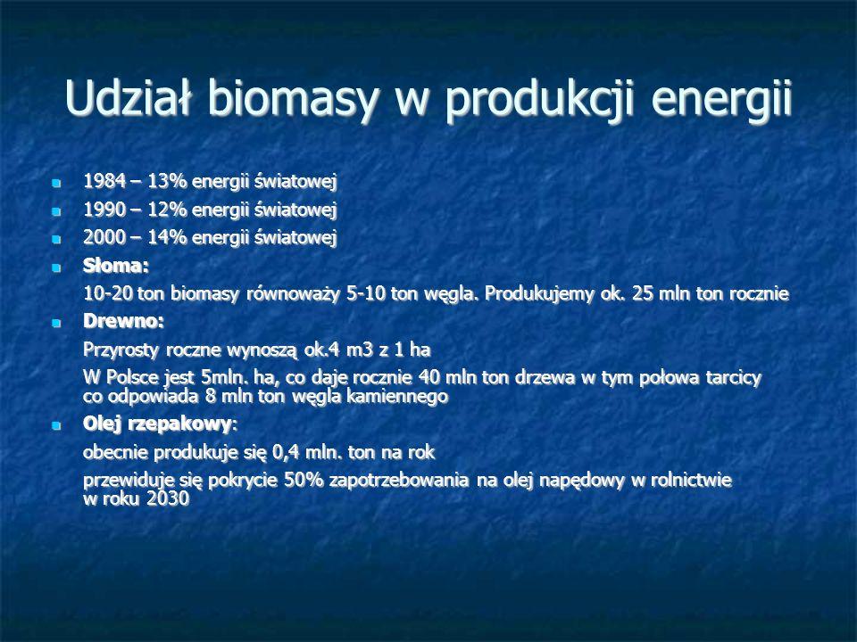 Udział biomasy w produkcji energii 1984 – 13% energii światowej 1984 – 13% energii światowej 1990 – 12% energii światowej 1990 – 12% energii światowej 2000 – 14% energii światowej 2000 – 14% energii światowej Słoma: Słoma: 10-20 ton biomasy równoważy 5-10 ton węgla.