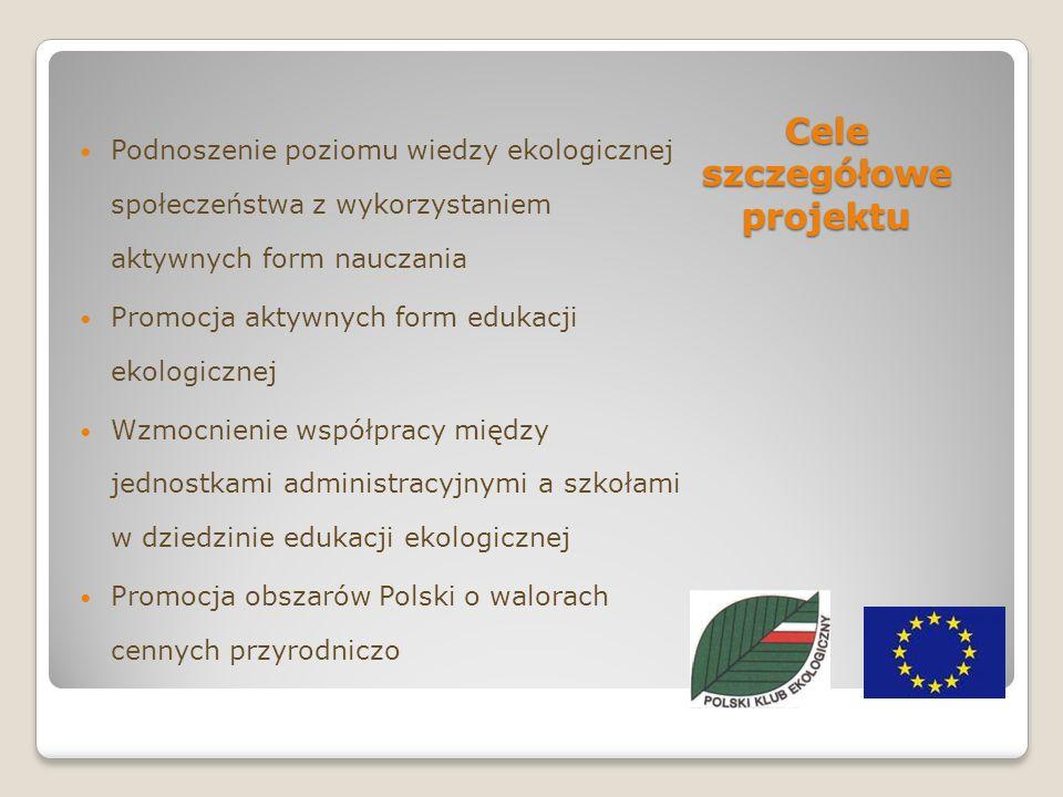Cele szczegółowe projektu Podnoszenie poziomu wiedzy ekologicznej społeczeństwa z wykorzystaniem aktywnych form nauczania Promocja aktywnych form edukacji ekologicznej Wzmocnienie współpracy między jednostkami administracyjnymi a szkołami w dziedzinie edukacji ekologicznej Promocja obszarów Polski o walorach cennych przyrodniczo