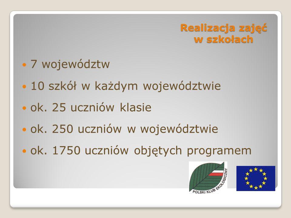 Realizacja zajęć w szkołach 7 województw 10 szkół w każdym województwie ok.