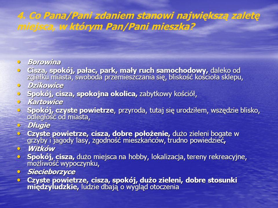 4. Co Pana/Pani zdaniem stanowi największą zaletę miejsca, w którym Pan/Pani mieszka? Borowina Borowina Cisza, spokój, pałac, park, mały ruch samochod