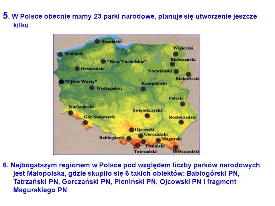 5. W Polsce obecnie mamy 23 parki narodowe, planuje się utworzenie jeszcze kilku 6. Najbogatszym regionem w Polsce pod względem liczby parków narodowy