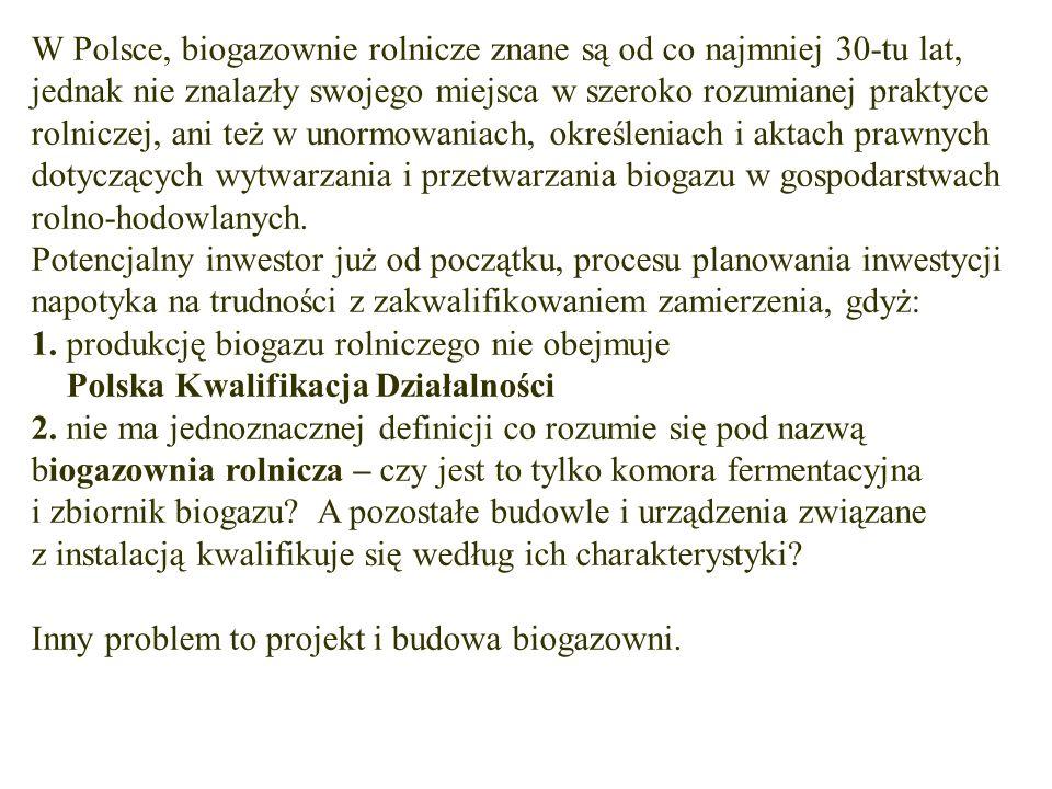 W Polsce, biogazownie rolnicze znane są od co najmniej 30-tu lat, jednak nie znalazły swojego miejsca w szeroko rozumianej praktyce rolniczej, ani też w unormowaniach, określeniach i aktach prawnych dotyczących wytwarzania i przetwarzania biogazu w gospodarstwach rolno-hodowlanych.