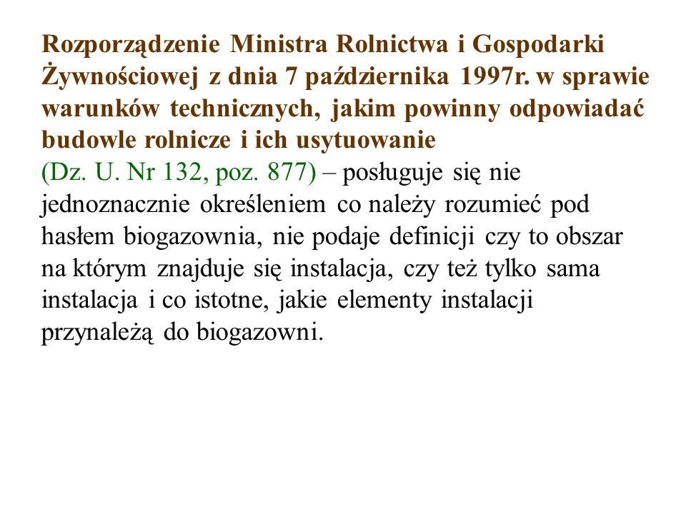 Rozporządzenie Ministra Rolnictwa i Gospodarki Żywnościowej z dnia 7 października 1997r.