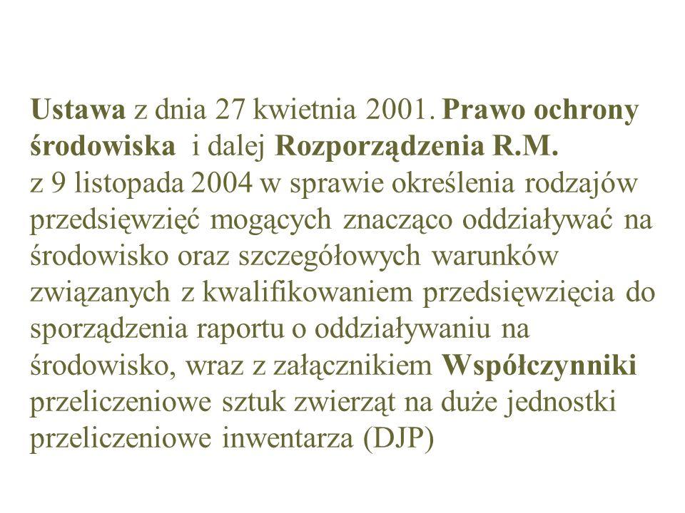 Ustawa z dnia 27 kwietnia 2001. Prawo ochrony środowiska i dalej Rozporządzenia R.M.