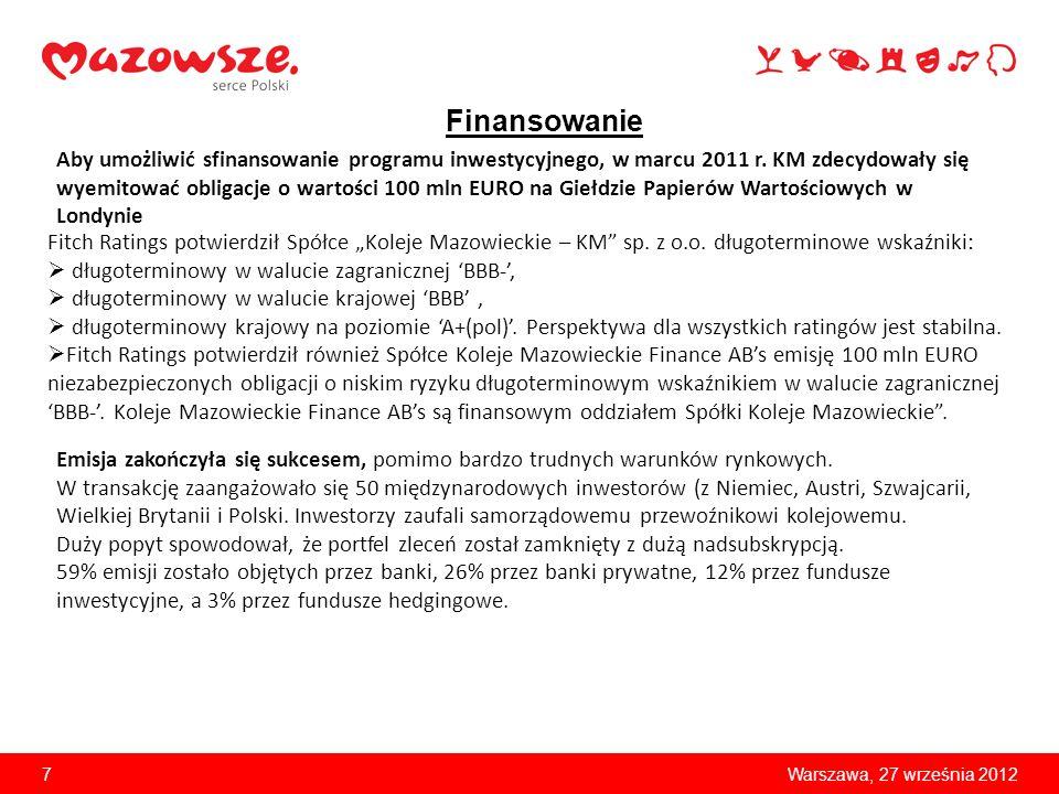 8Warszawa, 27 września 2012 Konkurencyjność na rynku kolejowych przewozów pasażerskich Udział operatorów w rynku według liczby przewiezionych pasażerów (styczeń – lipiec 2012 rok)* * dane ze strony internetowej Urzędu Transportu Kolejowego: http://www.utk.gov.pl//portal/pl/243/1219/przewozy_pasazerskie.html