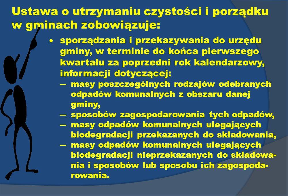 Ustawa o utrzymaniu czystości i porządku w gminach zobowiązuje: sporządzania i przekazywania do urzędu gminy, w terminie do końca pierwszego kwartału