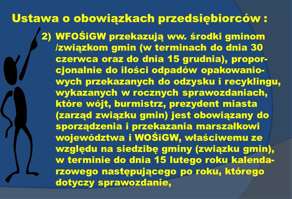 Ustawa o obowiązkach przedsiębiorców : 2)WFOŚiGW przekazują ww. środki gminom /związkom gmin (w terminach do dnia 30 czerwca oraz do dnia 15 grudnia),
