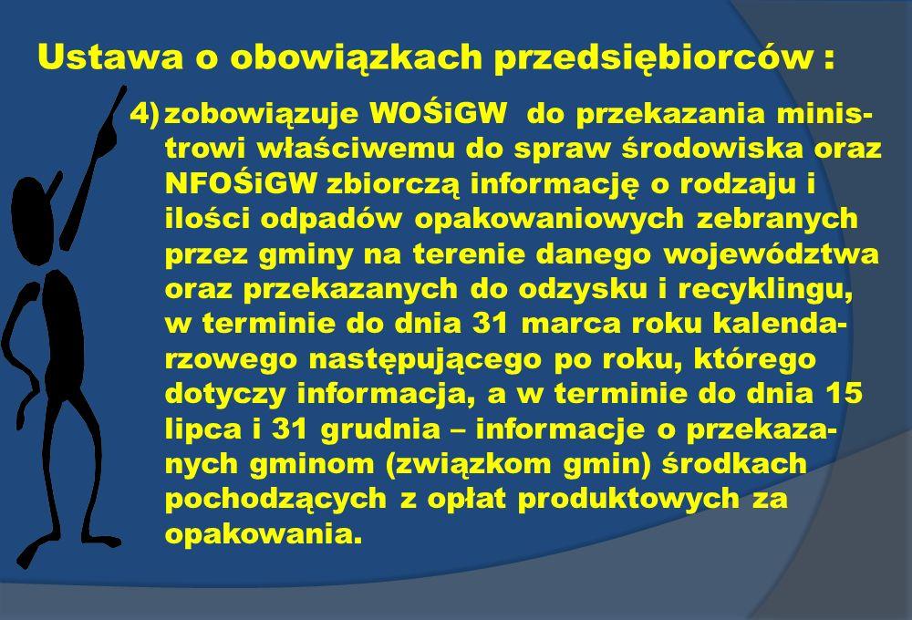 Ustawa o obowiązkach przedsiębiorców : 4)zobowiązuje WOŚiGW do przekazania minis- trowi właściwemu do spraw środowiska oraz NFOŚiGW zbiorczą informacj