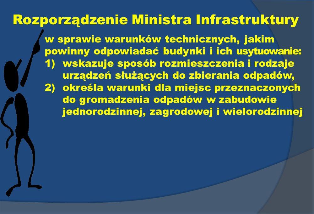 Rozporządzenie Ministra Infrastruktury w sprawie warunków technicznych, jakim powinny odpowiadać budynki i ich usytuowanie: 1)wskazuje sposób rozmiesz