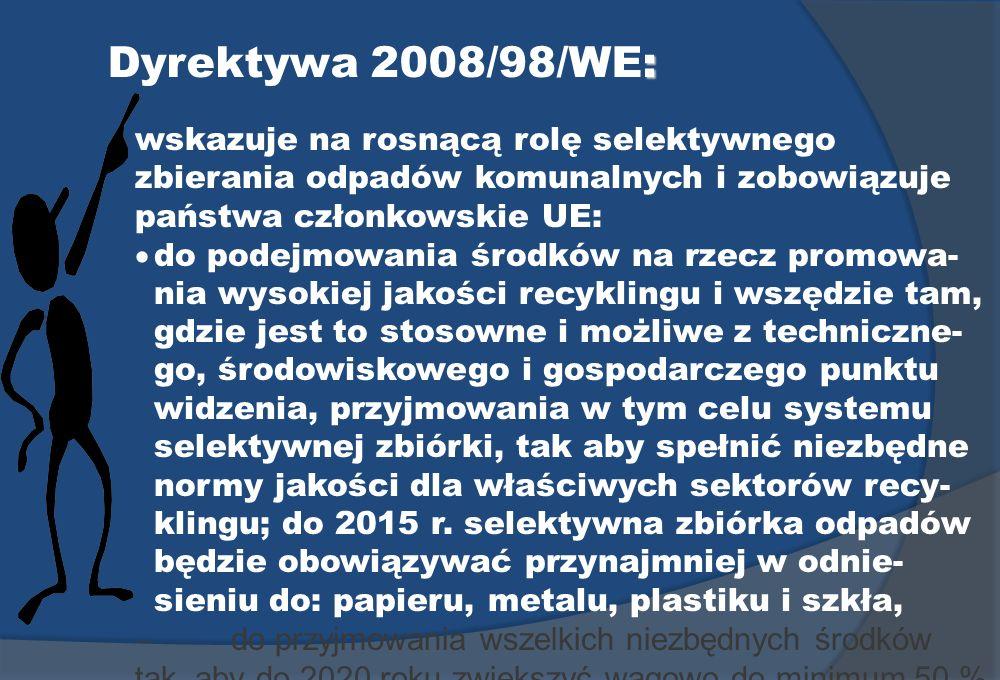 : Dyrektywa 2008/98/WE: wskazuje na rosnącą rolę selektywnego zbierania odpadów komunalnych i zobowiązuje państwa członkowskie UE: do podejmowania śro