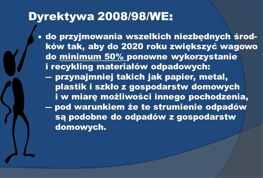 : Dyrektywa 2008/98/WE: do przyjmowania wszelkich niezbędnych środ- ków tak, aby do 2020 roku zwiększyć wagowo do minimum 50% ponowne wykorzystanie i
