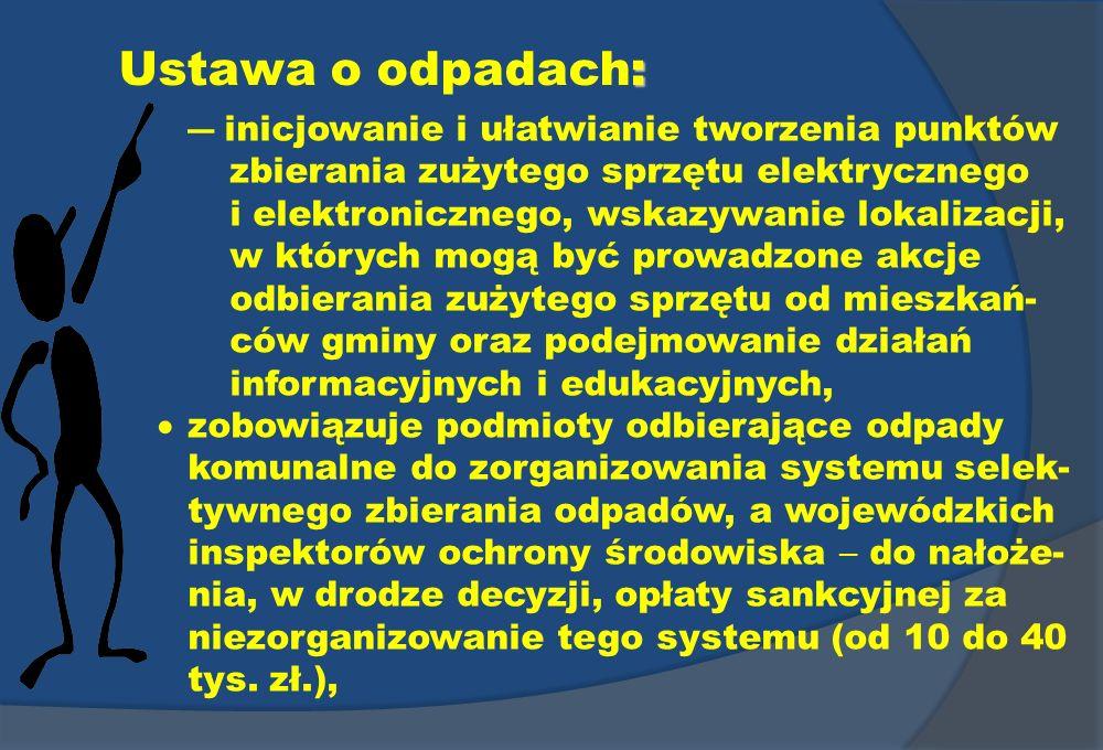 : Ustawa o odpadach: inicjowanie i ułatwianie tworzenia punktów zbierania zużytego sprzętu elektrycznego i elektronicznego, wskazywanie lokalizacji, w