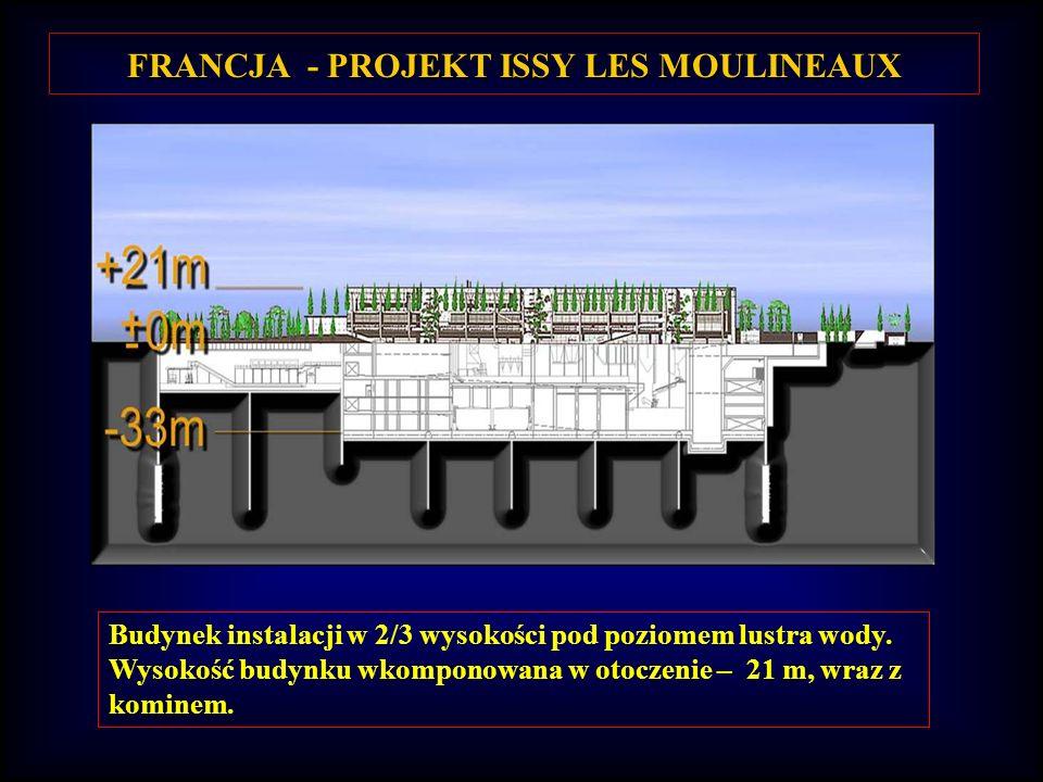 FRANCJA - PROJEKT ISSY LES MOULINEAUX Budynek instalacji w 2/3 wysokości pod poziomem lustra wody.