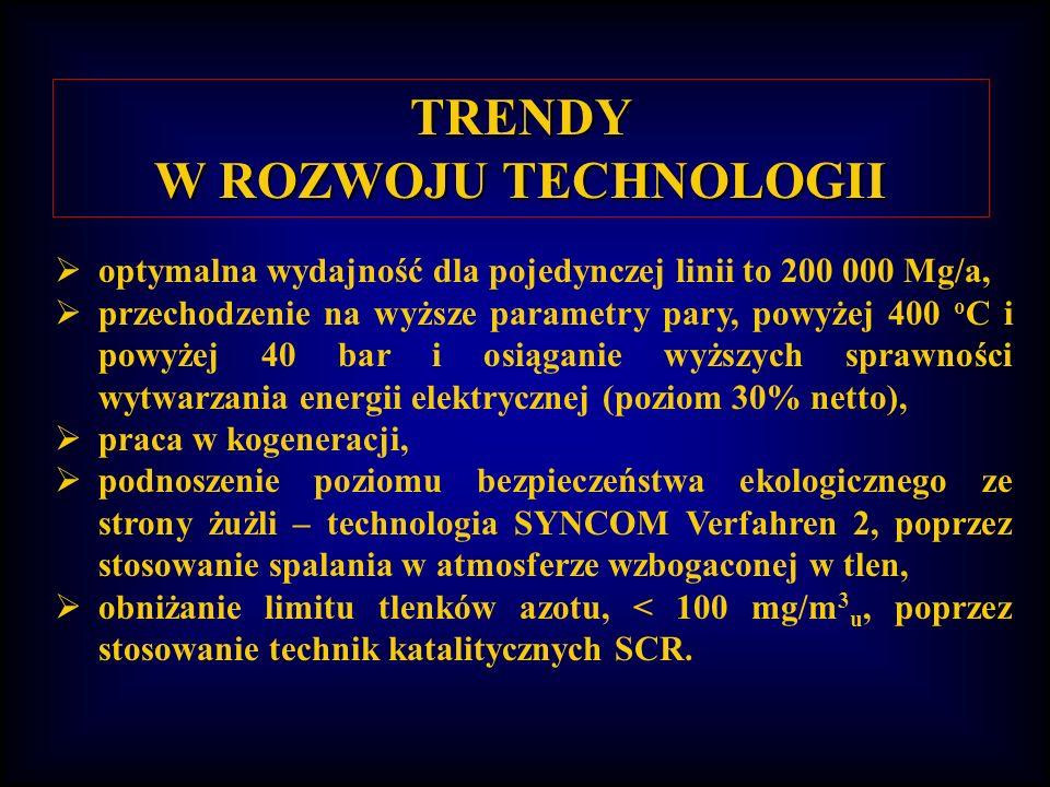 TRENDY W ROZWOJU TECHNOLOGII optymalna wydajność dla pojedynczej linii to 200 000 Mg/a, przechodzenie na wyższe parametry pary, powyżej 400 o C i powyżej 40 bar i osiąganie wyższych sprawności wytwarzania energii elektrycznej (poziom 30% netto), praca w kogeneracji, podnoszenie poziomu bezpieczeństwa ekologicznego ze strony żużli – technologia SYNCOM Verfahren 2, poprzez stosowanie spalania w atmosferze wzbogaconej w tlen, obniżanie limitu tlenków azotu, < 100 mg/m 3 u, poprzez stosowanie technik katalitycznych SCR.