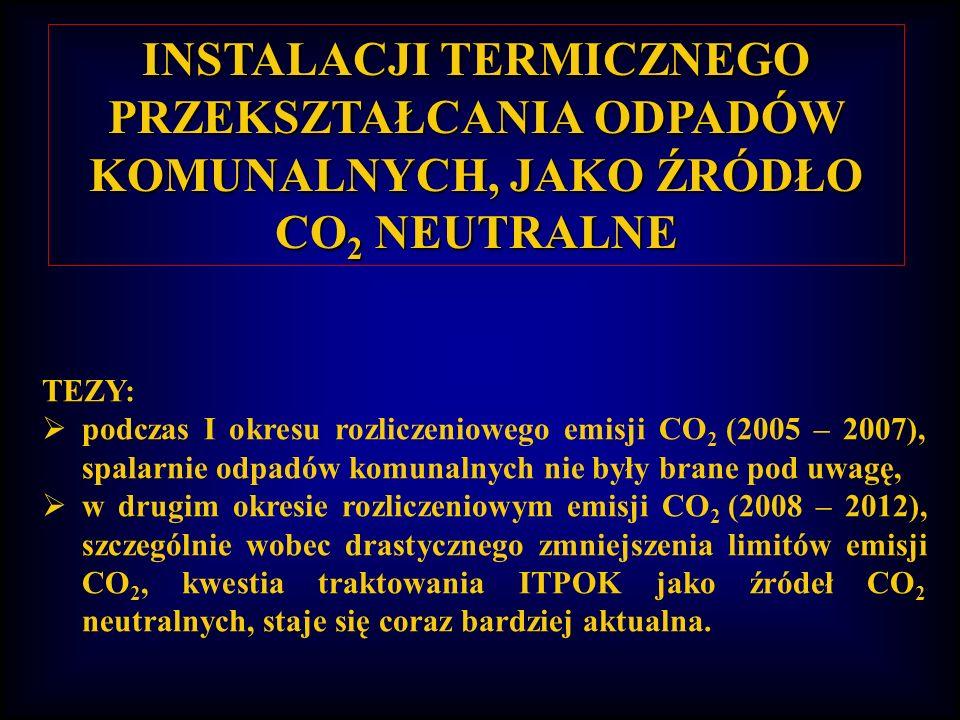 INSTALACJI TERMICZNEGO PRZEKSZTAŁCANIA ODPADÓW KOMUNALNYCH, JAKO ŹRÓDŁO CO 2 NEUTRALNE TEZY: podczas I okresu rozliczeniowego emisji CO 2 (2005 – 2007), spalarnie odpadów komunalnych nie były brane pod uwagę, w drugim okresie rozliczeniowym emisji CO 2 (2008 – 2012), szczególnie wobec drastycznego zmniejszenia limitów emisji CO 2, kwestia traktowania ITPOK jako źródeł CO 2 neutralnych, staje się coraz bardziej aktualna.