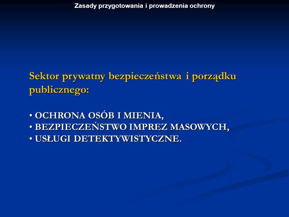 Zasady przygotowania i prowadzenia ochrony Sektor prywatny bezpieczeństwa i porządku publicznego: OCHRONA OSÓB I MIENIA, OCHRONA OSÓB I MIENIA, BEZPIE